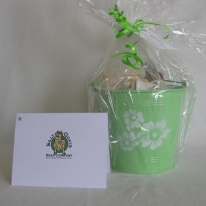White Flowers - Green Pail