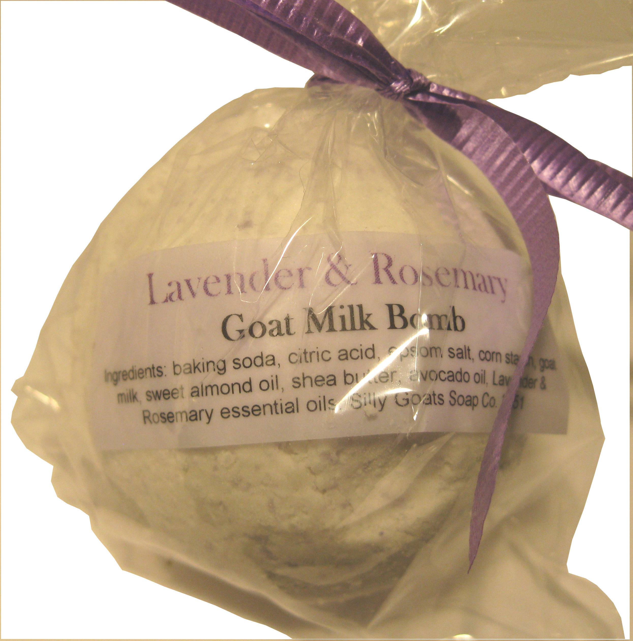 Lavender Rosemary Goat Milk Bath Bomb - Silly Goats Soap Company