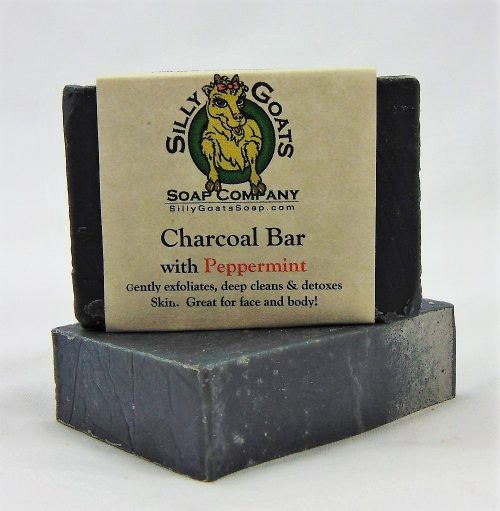 Charcoal Bar with Peppermint, Handmade Goat Milk by Silly Goats Soap Co.