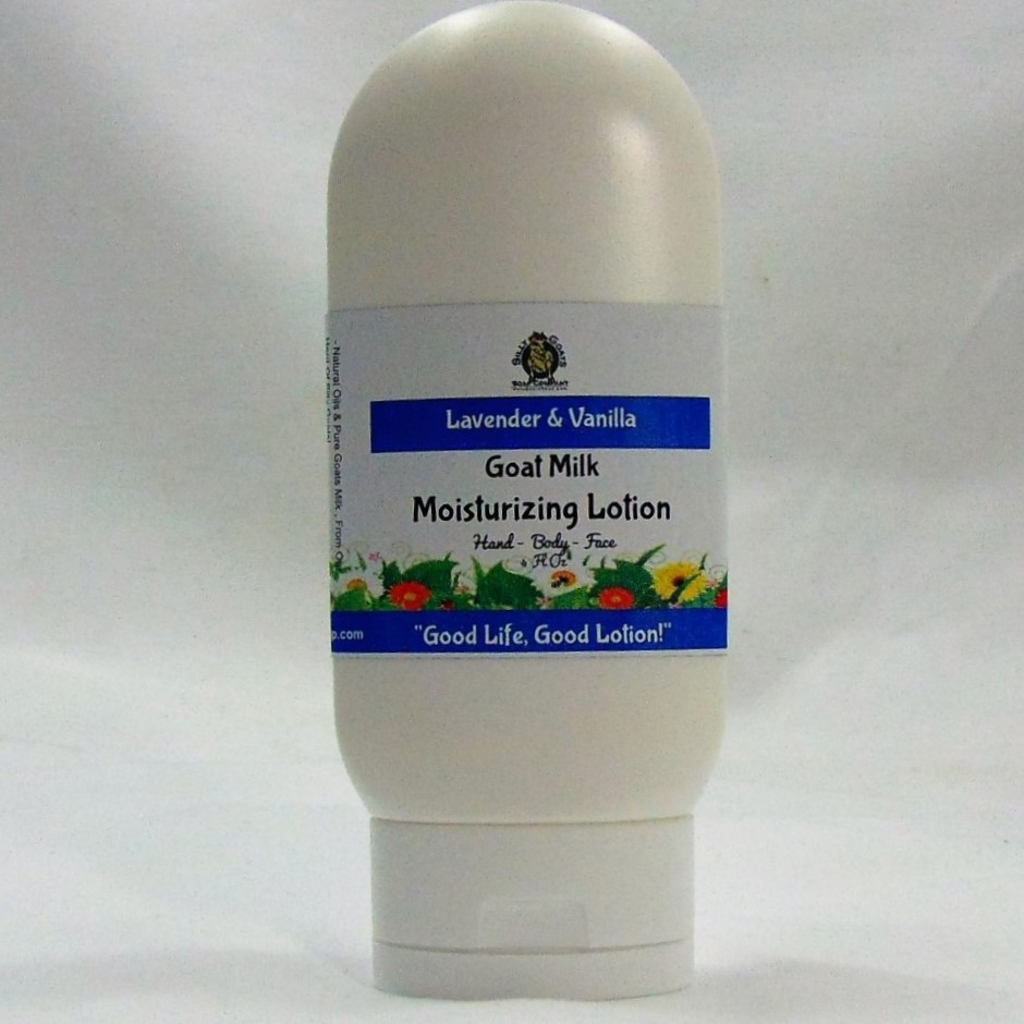 Lavender And Vanilla 4 oz Goat Milk Lotion. Handmade by Silly Goats Soap Co.