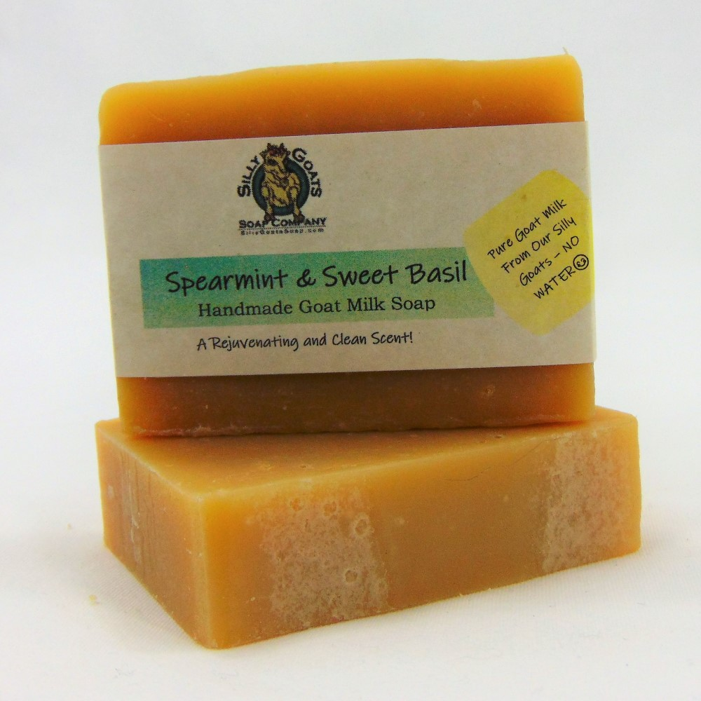 Spearmint and Sweet Basil, Handmade Goat Milk by Silly Goats Soap Co.