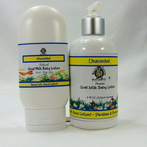 Baby Lotion (Unscented) Goat Milk Lotion. Handmade by Silly Goats Soap Co.