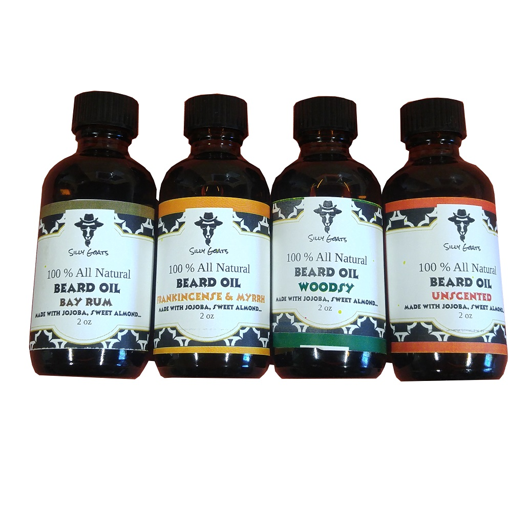 Beard Oil Collection by Silly Goats Soap Company.