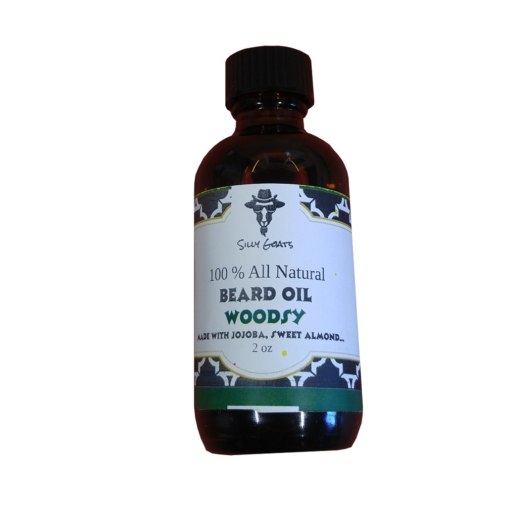 Woodsy Beard Oil by Silly Goats Soap Company.